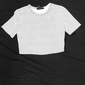 White and black striped crop top